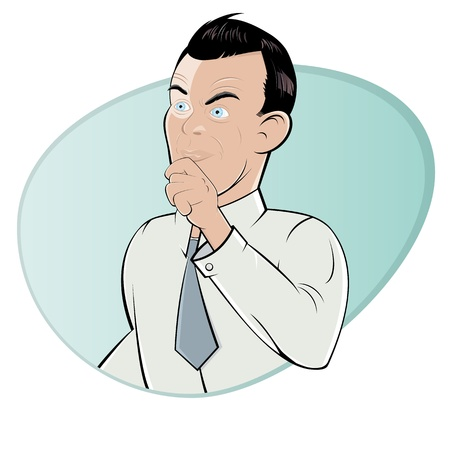 business skeptical: skeptical cartoon man Illustration