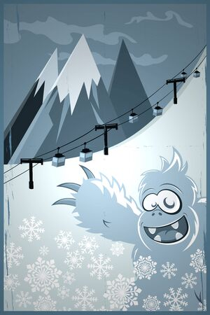 abominable snowman and ski lift photo