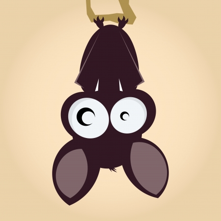 bat: funny cartoon bat is hanging around Illustration