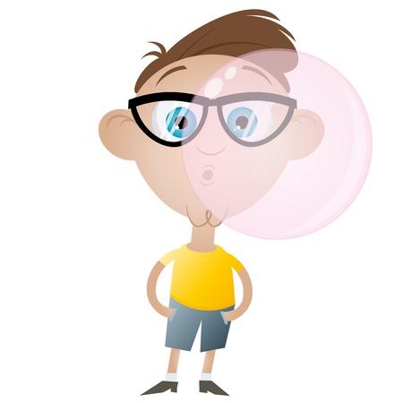 cartoon jongen met bubblegum