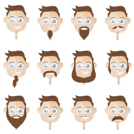 funny beard head collection Stock Vector - 17841397