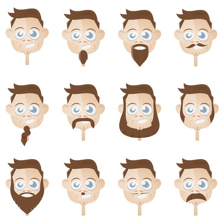 goatee: funny beard head collection Illustration