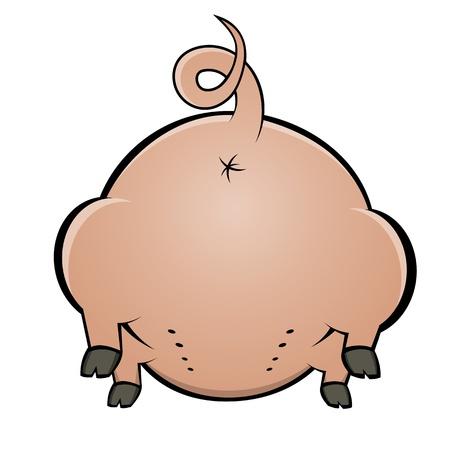 cerdo caricatura: parte trasera de un cerdo