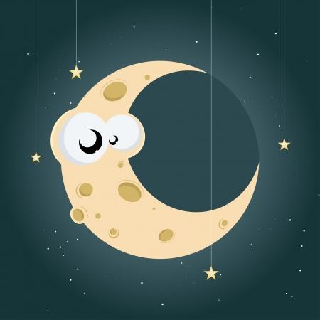 funny cartoon moon Stock Vector - 17841322