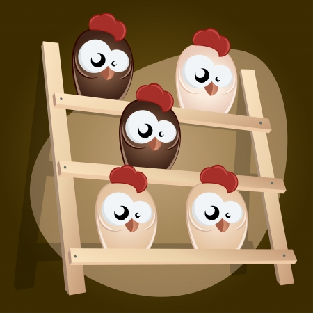 chicken in hen house Vector