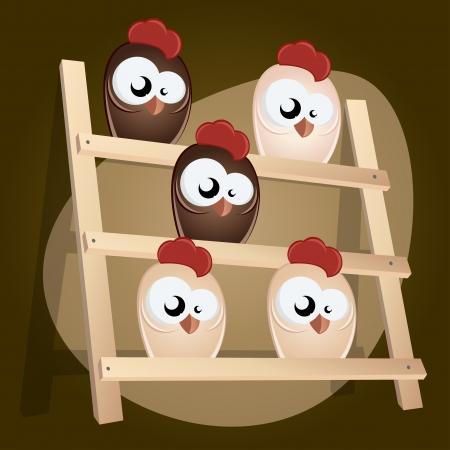 coop: chicken in hen house Illustration