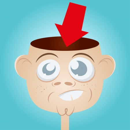 red heads: funny cartoon man with empty head
