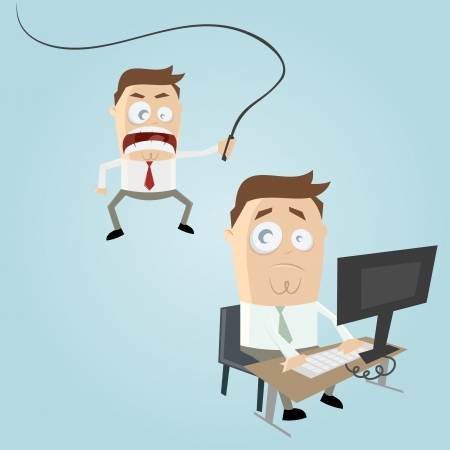 violence in the workplace: angry boss cartoon Illustration
