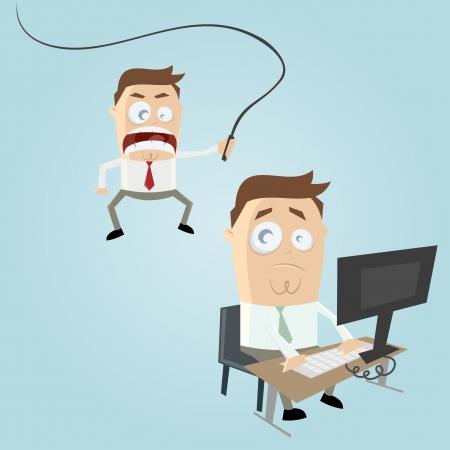 caricatura jefe enojado Ilustración de vector