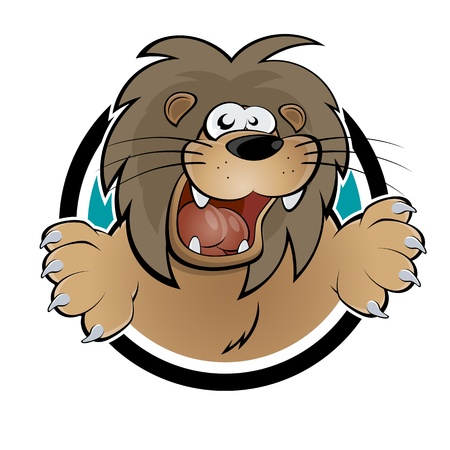 funny cartoon lion in a badge Vector