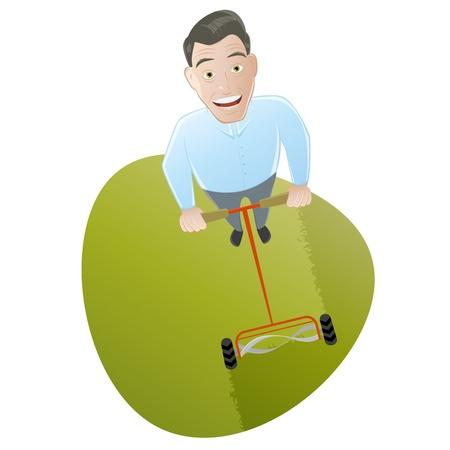 lawn mowing: lawn mowing cartoon man Illustration