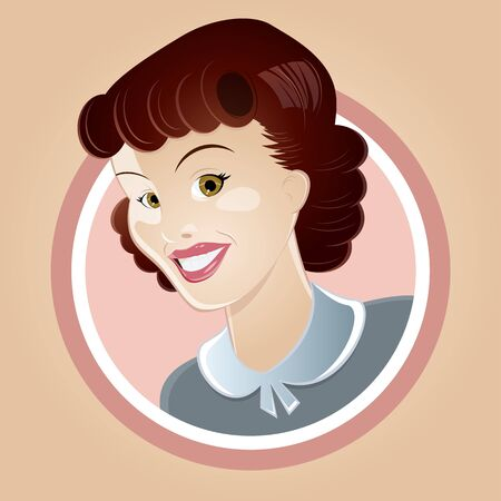 happy retro housewife Stock Vector - 17841386