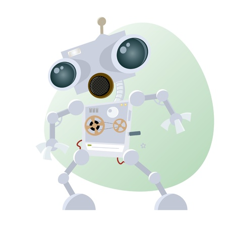 funny cartoon robot Stock Vector - 17841335