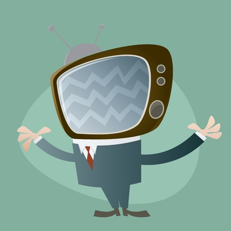funny tv head man Stock Vector - 17841394
