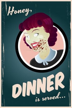 zombie cartoon: zombie housewife