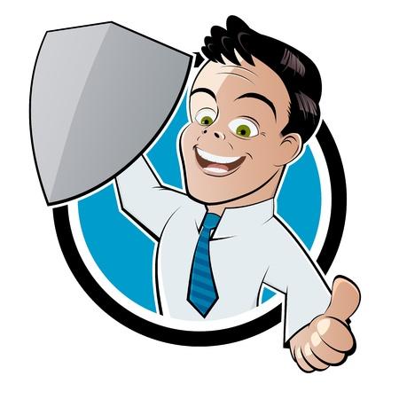 Retro Karikatur Mann mit einem Schild