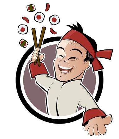 chef caricatura: sushi restaurant sign