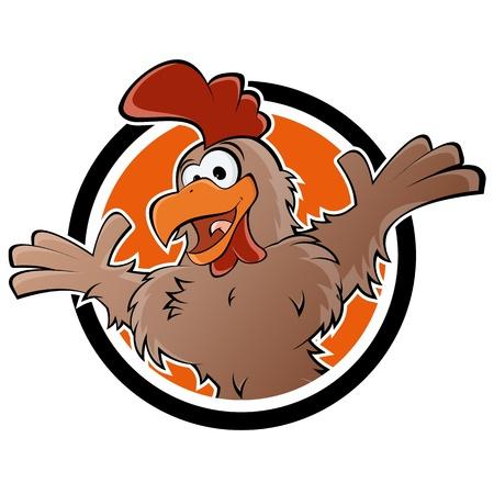 pollo caricatura: pollo en una placa Vectores