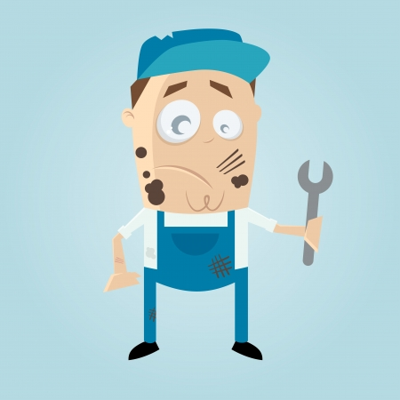 unskilled worker: clumsy cartoon man