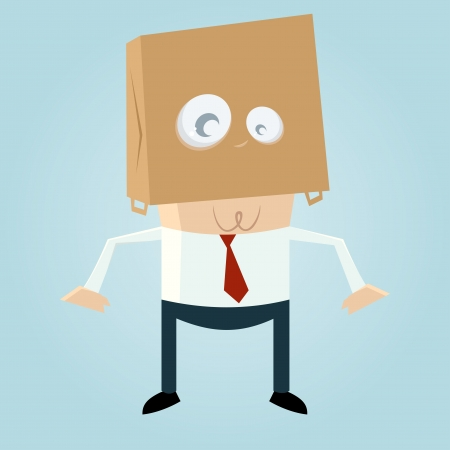 cartoon man with a bag on his head
