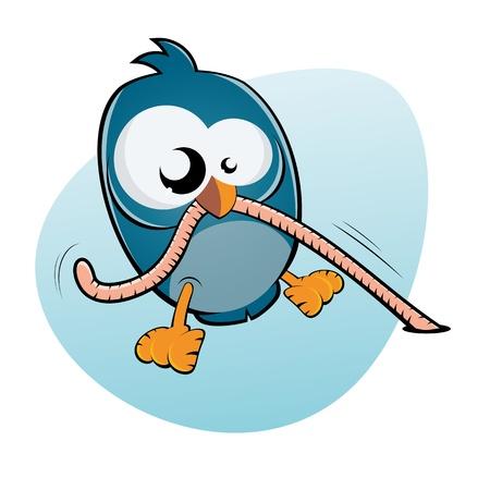 worms: cartoon bird and worm Illustration