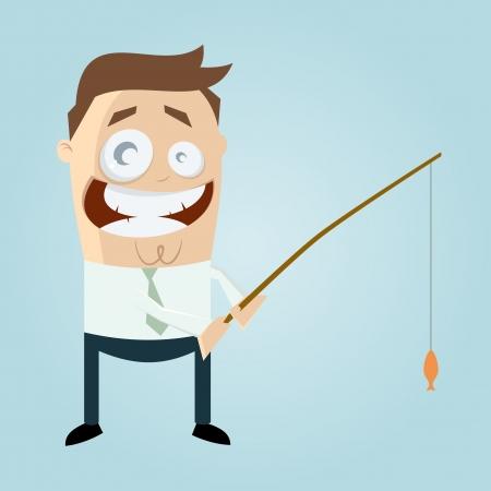 cartoon man catching a small fish Vector
