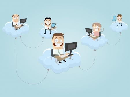 cloud computing people Illustration