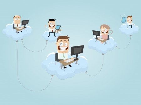 cloud computing people Vectores