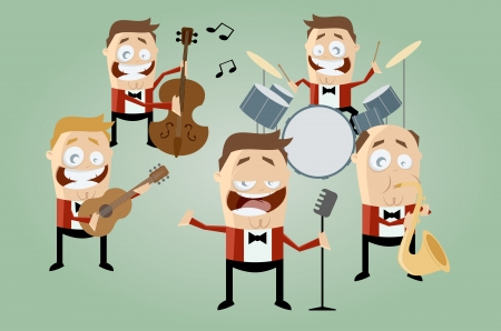 funny cartoon music band Vector