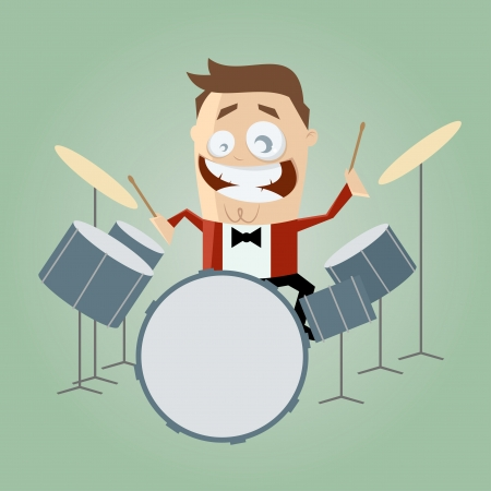 funny cartoon drummer Stock Vector - 20111710
