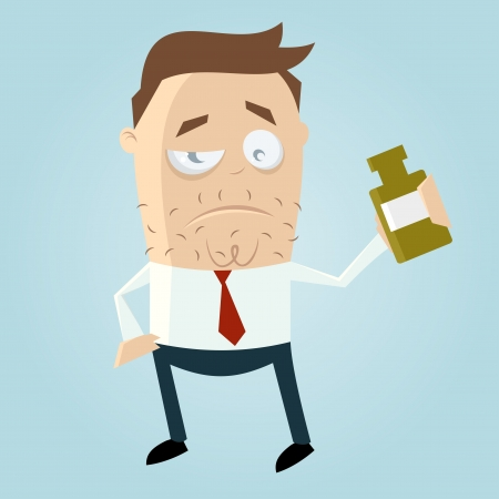 cartoon man drinks booze
