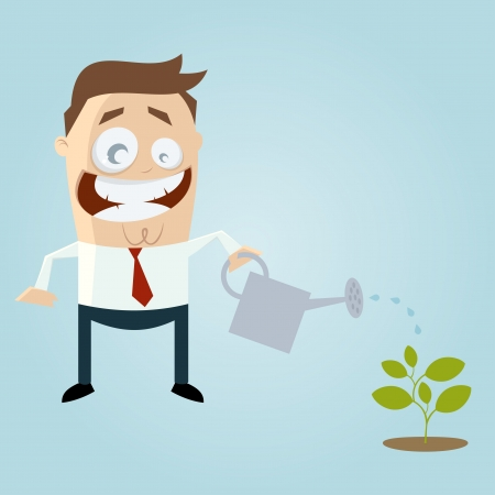 ewer: cartoon man pouring a small plant