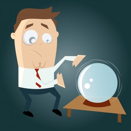 Lustige Cartoon-Mann ist Wahrsagen Standard-Bild - 20111753