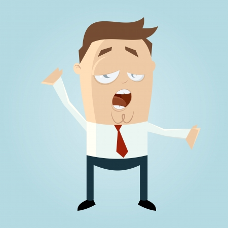 tired man: Funny cartoon man is tired