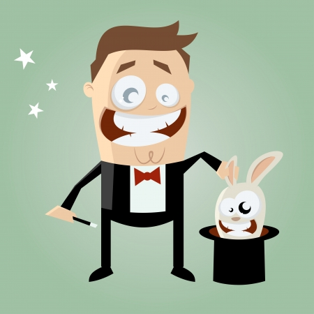 conjurer: cartoon conjurer with bunny in his top hat Illustration