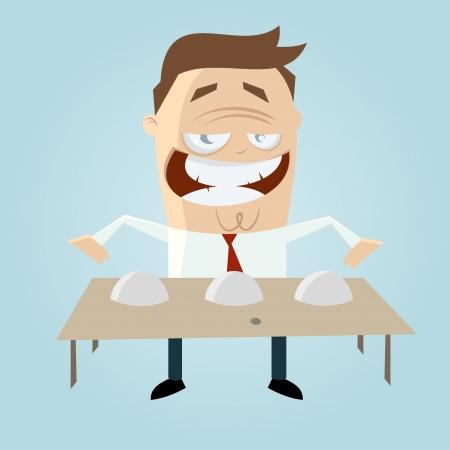 cheater: cartoon man playing shell game Illustration