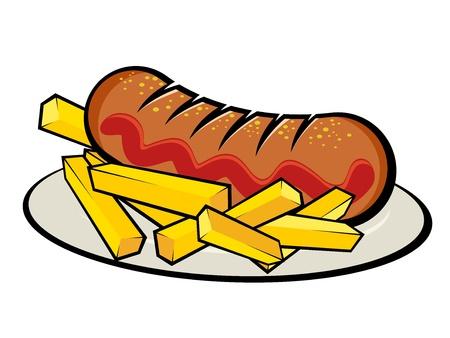 ilustración de un currywurst alemán con papas fritas francés
