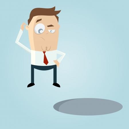 Doubtful cartoon man looking in a hole
