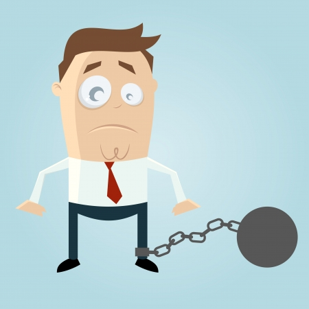 ball and chain: cartoon man in chains Illustration