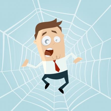 cartoon man trapped in spiderweb