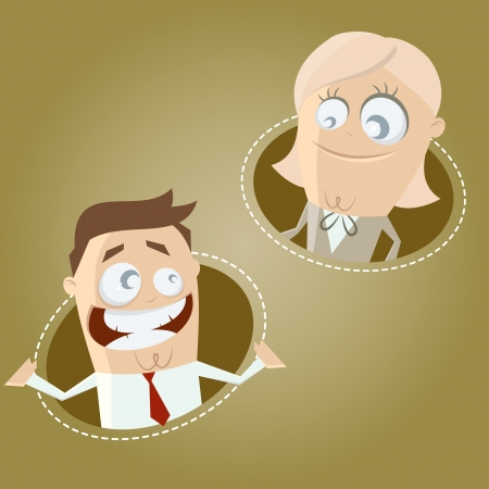cartoon business man and woman Stock Vector - 20111743
