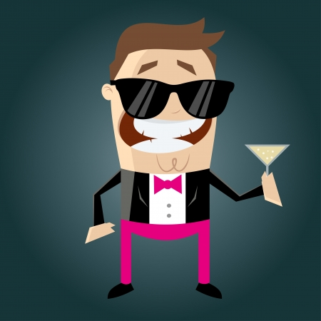 funny cartoon macho with cocktail Stock Vector - 20111720