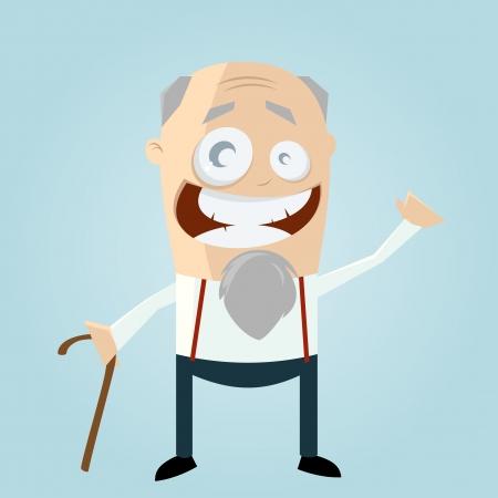 vejez feliz: Viejo hombre feliz Vectores