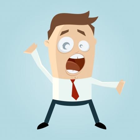 Grappige cartoon man is geschreeuw