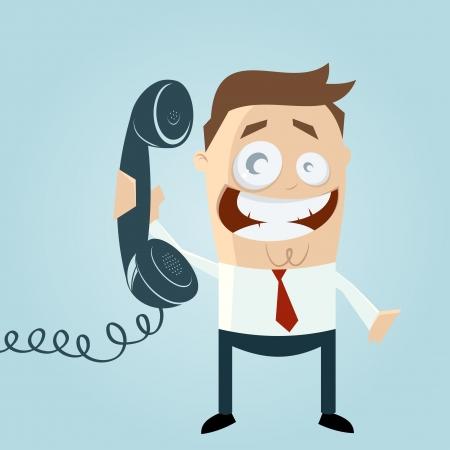 携帯電話でレトロ漫画男  イラスト・ベクター素材