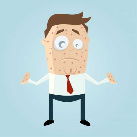 cartoon man with measles