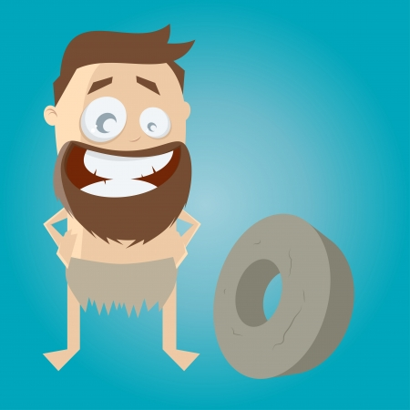 stone age: funny stone age man with first wheel Illustration