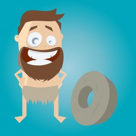 edad de piedra: hombre de la edad de piedra divertida con primera rueda