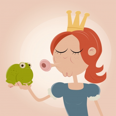 cursed: princess kissing a frog Illustration