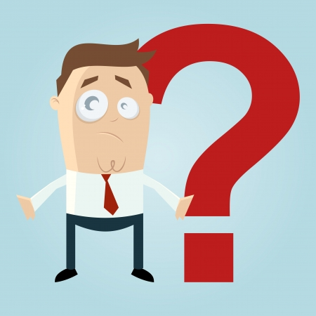 Funny cartoon man in front of a question mark Vector